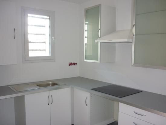 cuisine numéro 1, plaque vitro, hotte et 3 meubles hauts