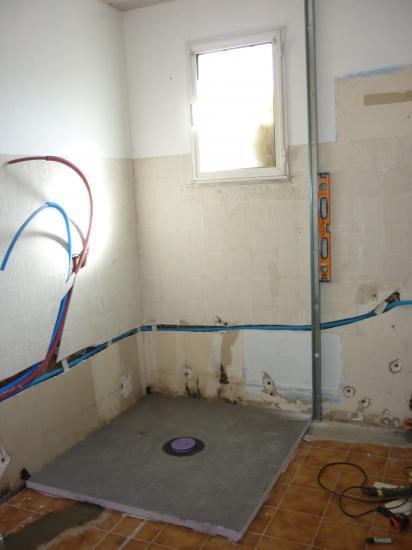 création écoulement pour receveur douche