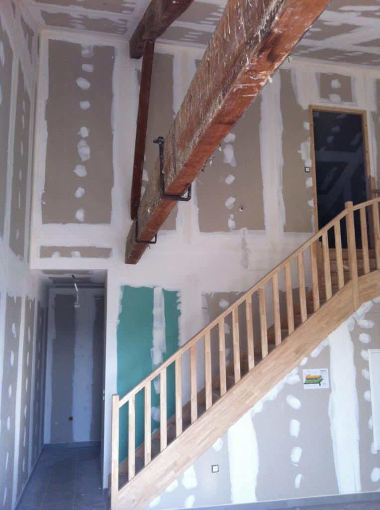 debut chantier  sejour, etage chambre, couloir rdc