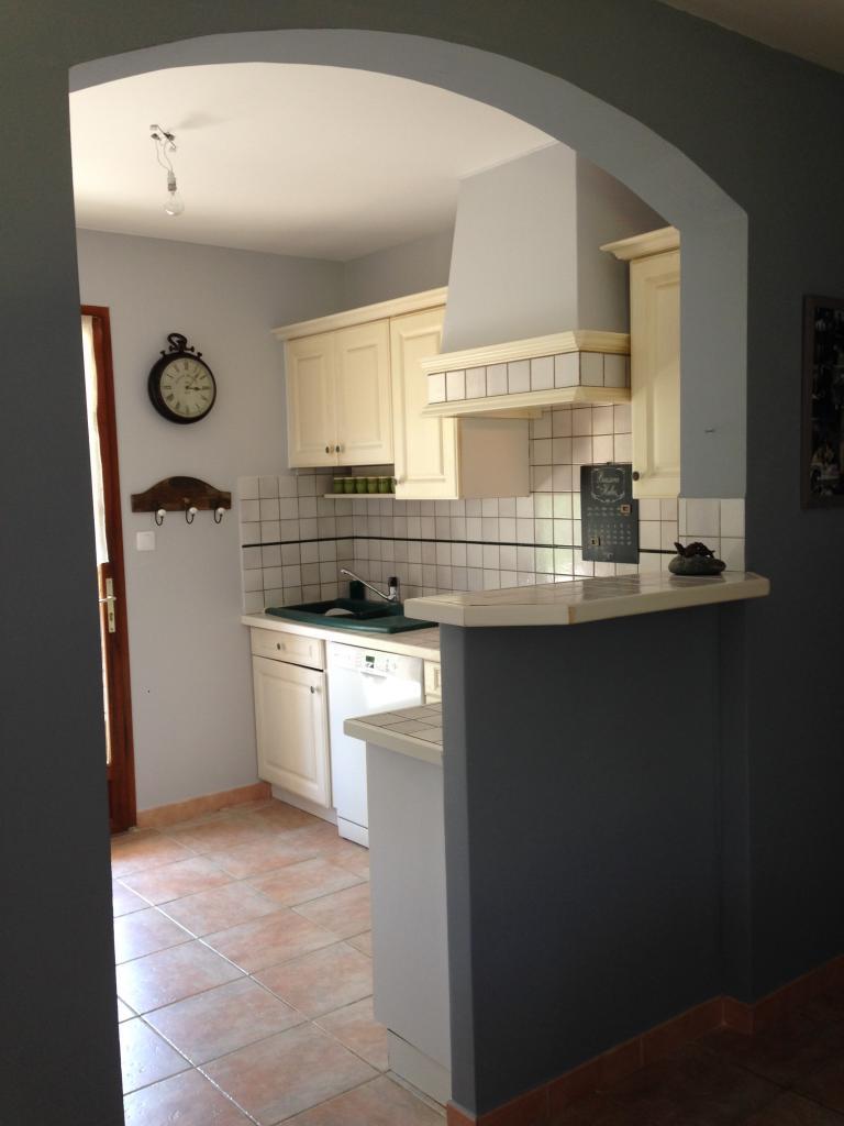 Contraste des gris galet clair et foncé entre cuisine et séjour