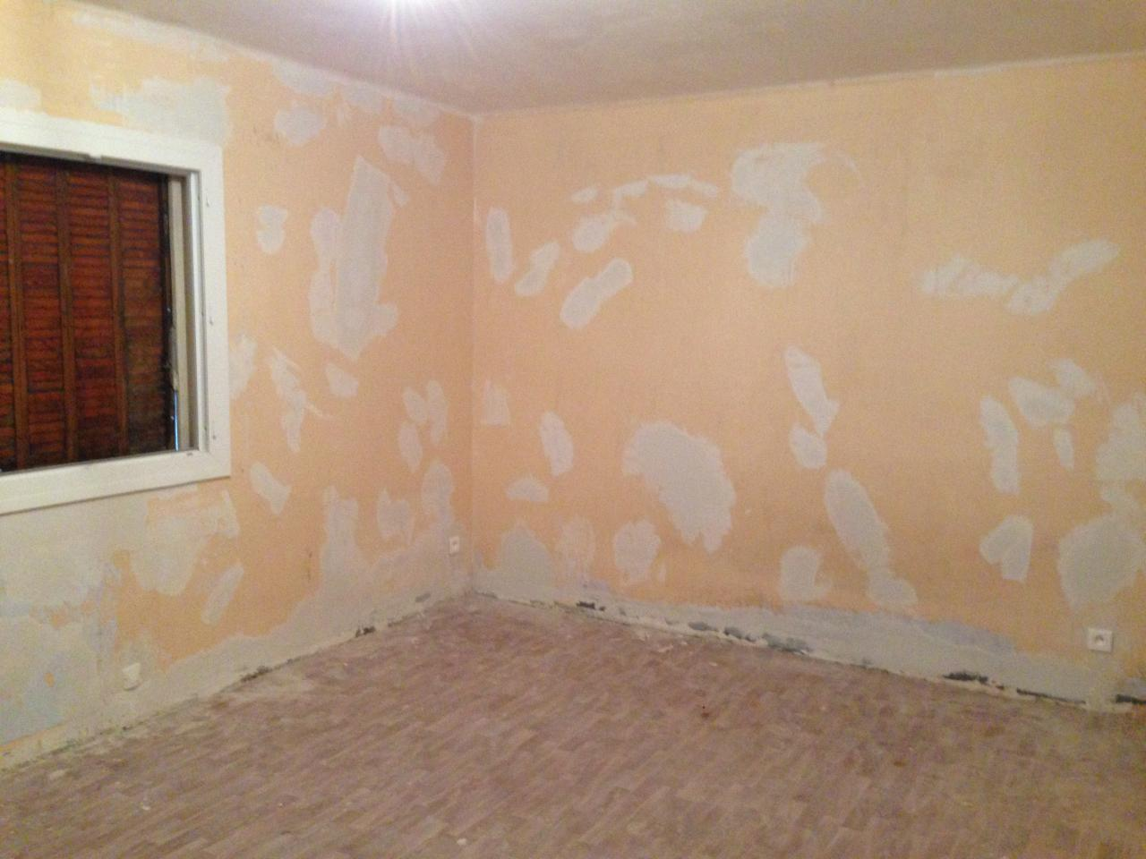 Reprise bas murs, rebouchage murs et plafond...