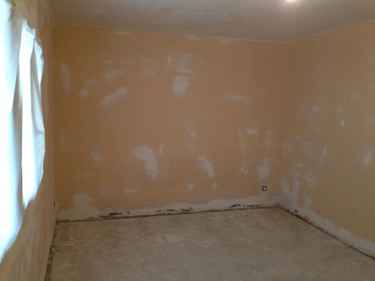 Ponçage murs et plafond, evacuation lino